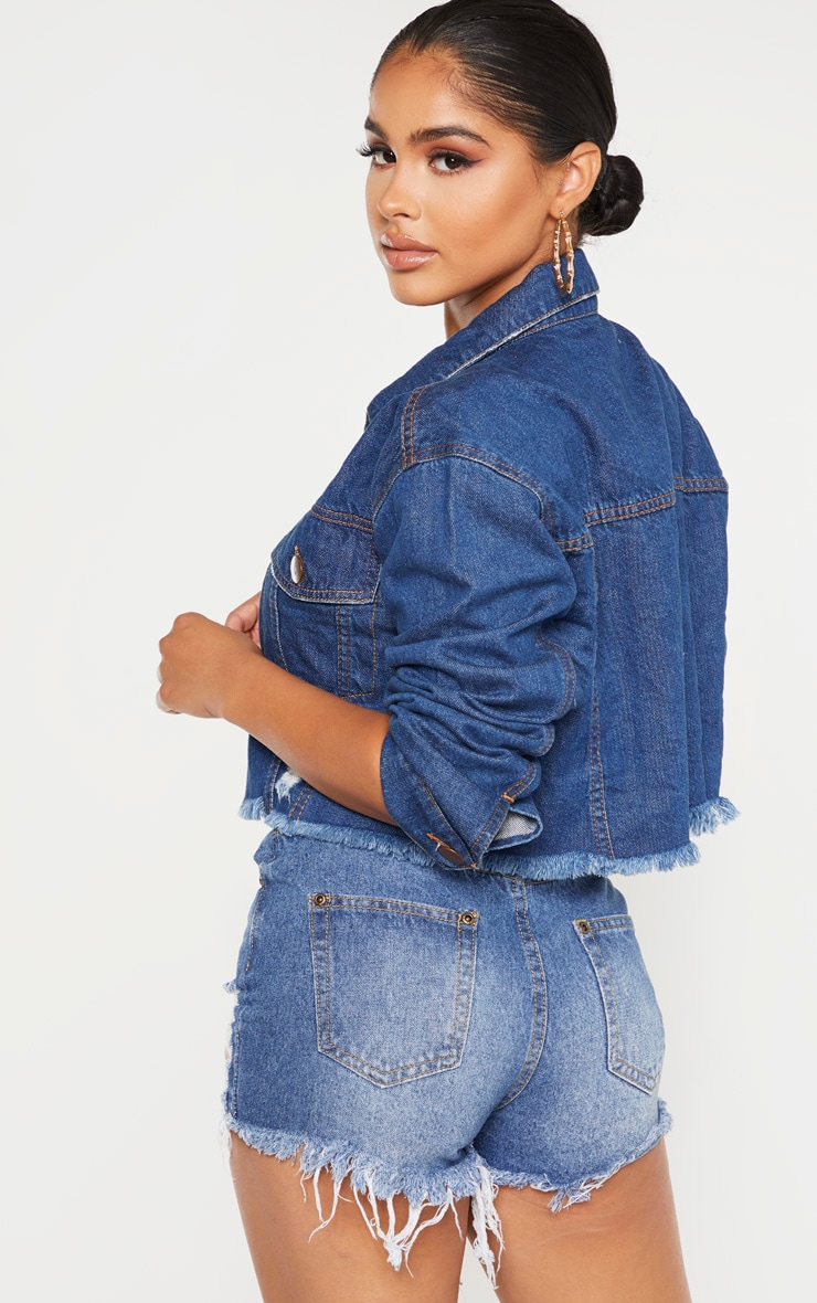 Petite Dark Wash Raw Edge Cropped Denim Jacket 2