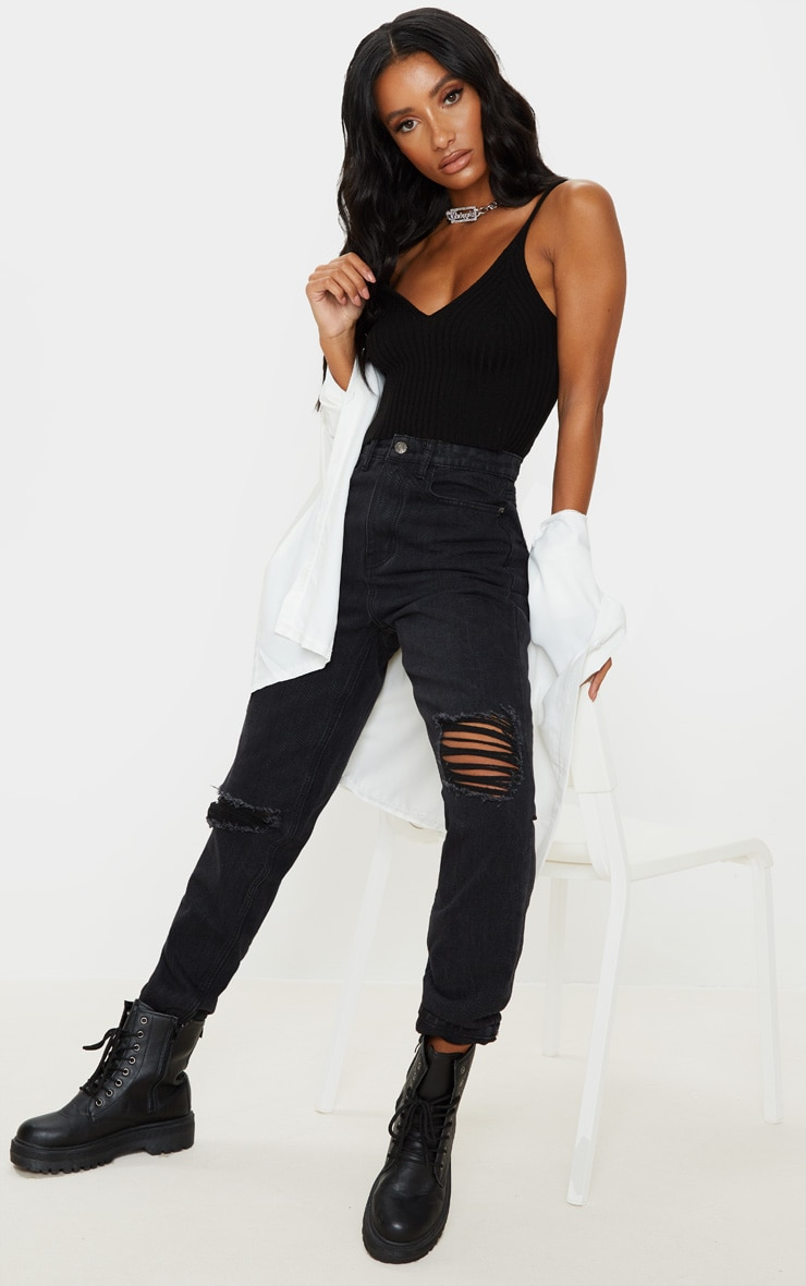 Black Knitted Cropped V Neck Vest 4