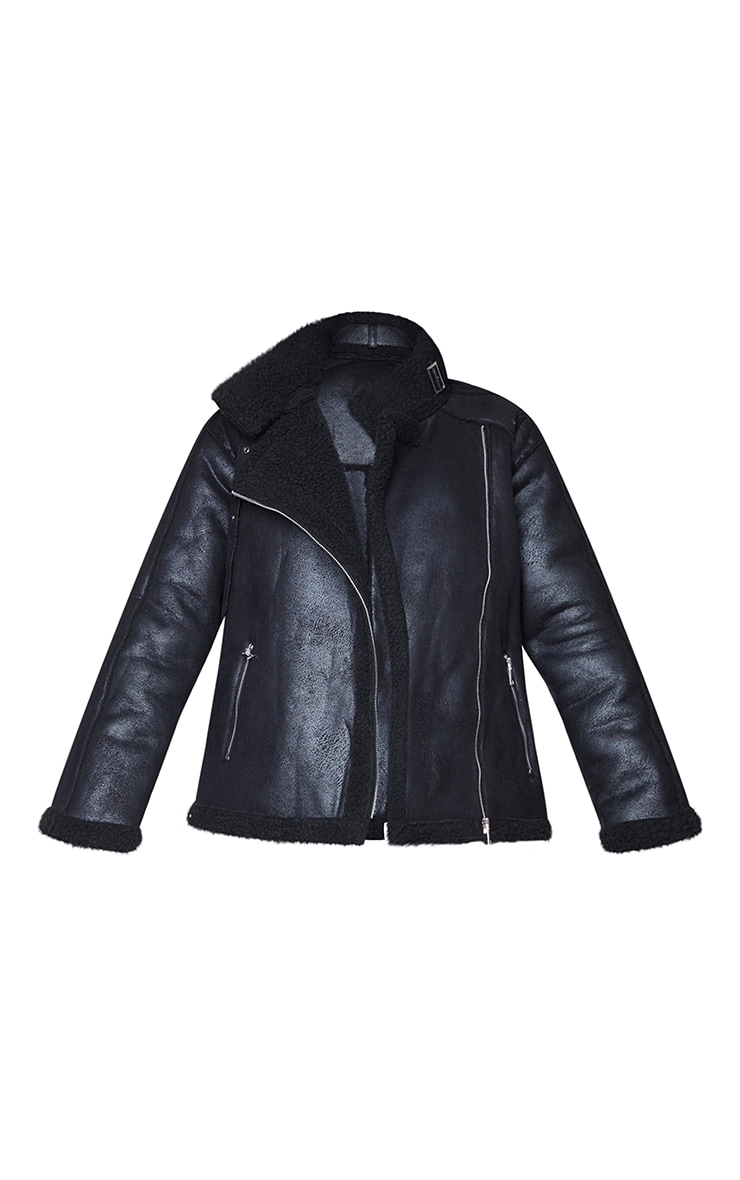 Black Hammered Faux Suede Buckle Collar Aviator Jacket 5