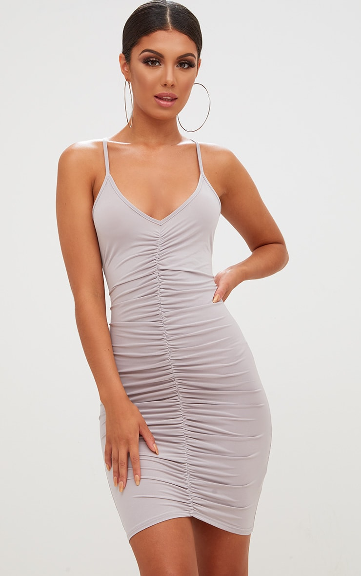 Ice Grey Slinky Ruched Strappy Bodycon Dress 1
