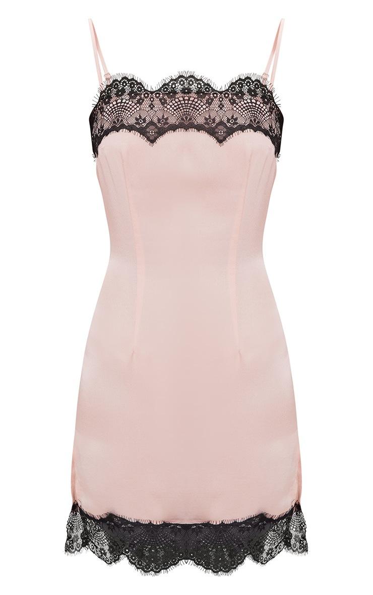 Nude Satin Lace Trim Split Detail Slip Dress 2