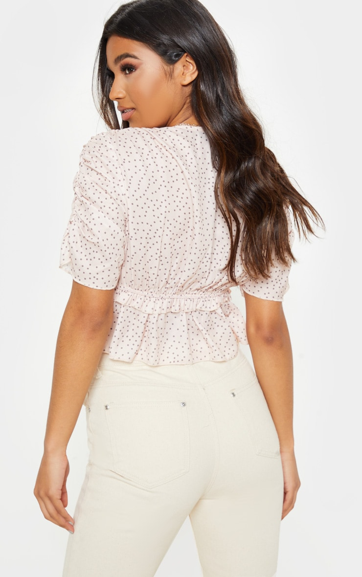 Nude Plunge Short Sleeve Ruched Crop Top 2