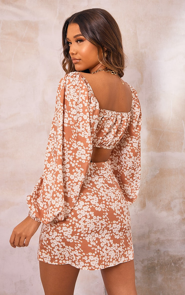 Orange Floral Printed Woven Balloon Sleeve Button Front Crop Top 2
