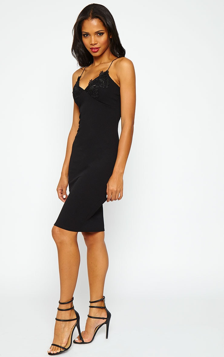 Nola Black Lace Applique Midi Dress 5