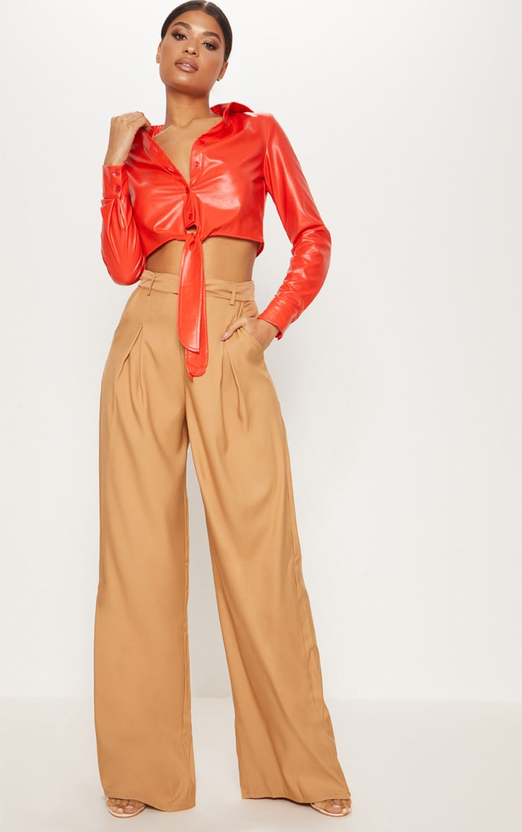 Red Faux Leather Tie Front Shirt  4