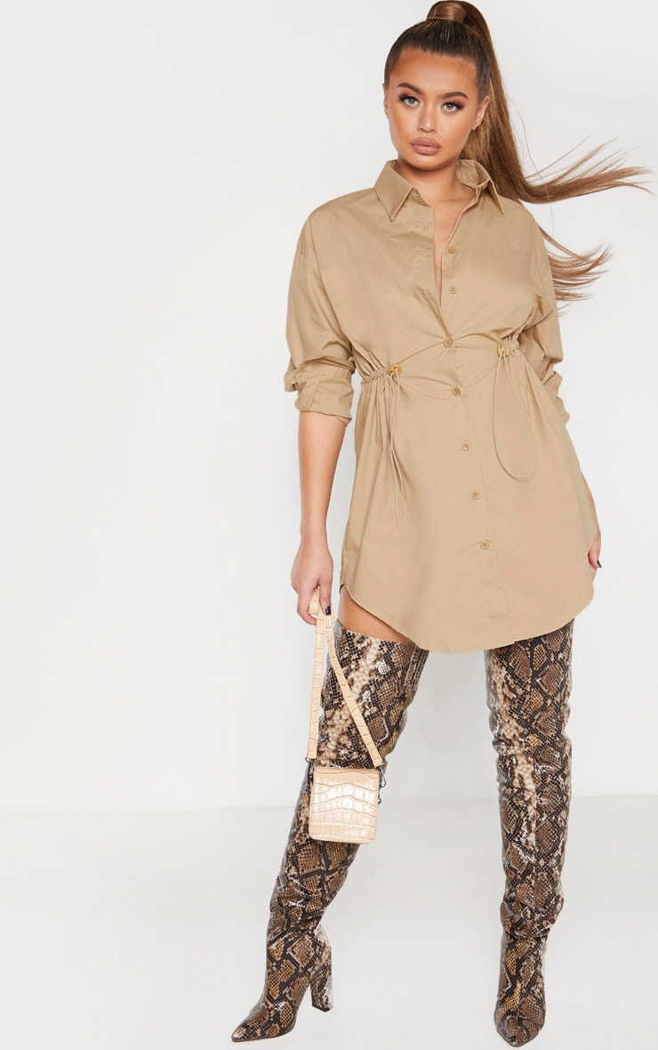 Camel Toggle Drawstring Shirt Dress 1