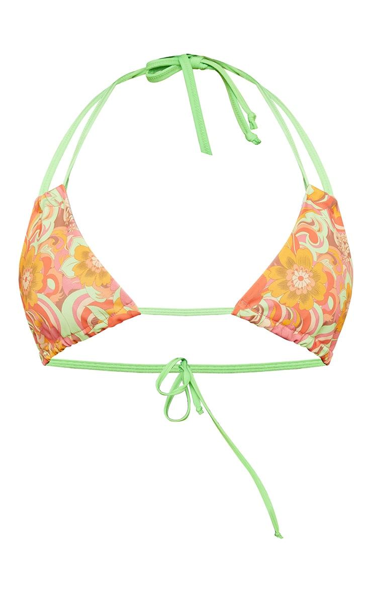 Plus Multi Swirl Print Triangle Bikini Top 4