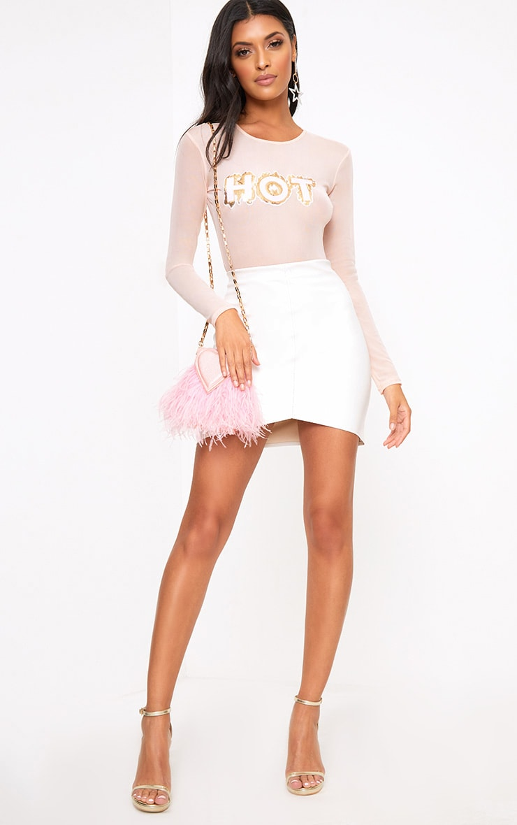 Cream Faux Leather Asymmetric Panel Mini Skirt 5