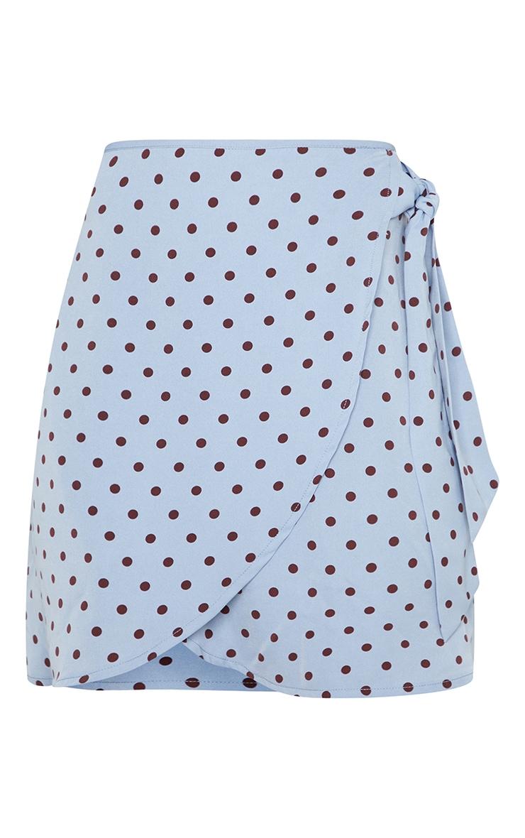 Blue Polka Dot Print Wrap Detail Mini Skirt 6