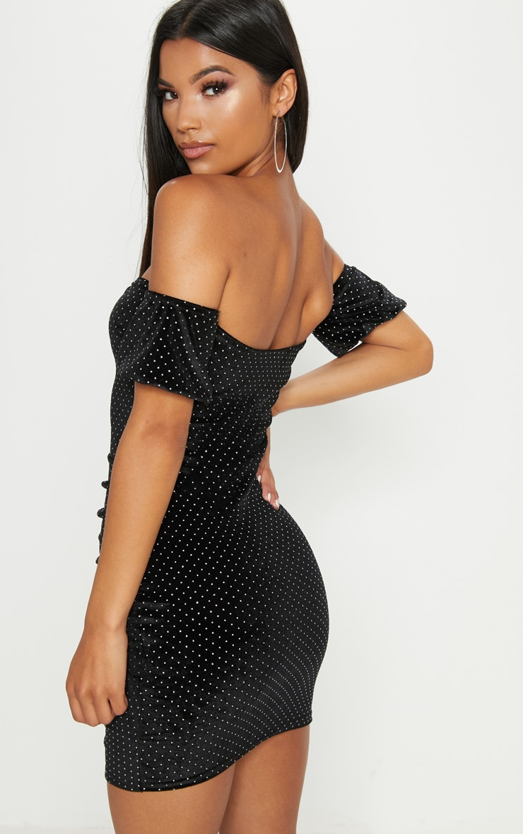 Black Studded Bardot Ruched Bodycon Dress 2