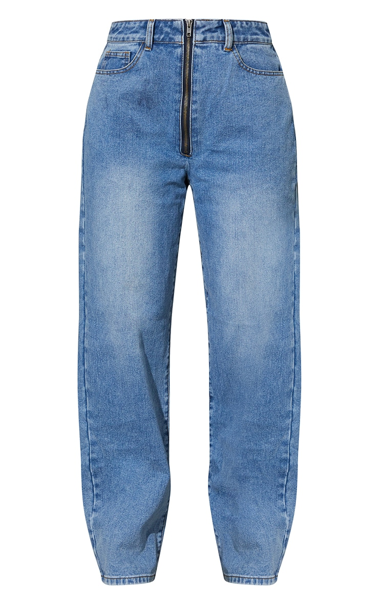 Mid Blue Wash Bum Zip Detail Baggy Boyfriend Jeans 5