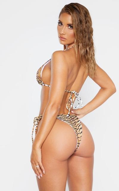 Brown Tiger Adjustable String Tie Padded Triangle Bikini