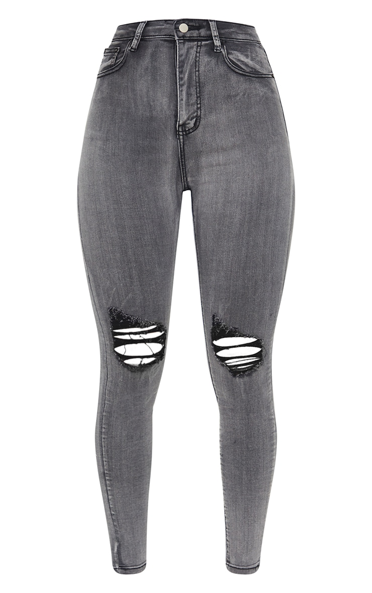 PRETTYLITTLETHING Grey 5 Pocket Knee Rip Skinny Jeans 5