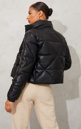 Black Faux Leather Diamond Quilted Padded Puffer 2