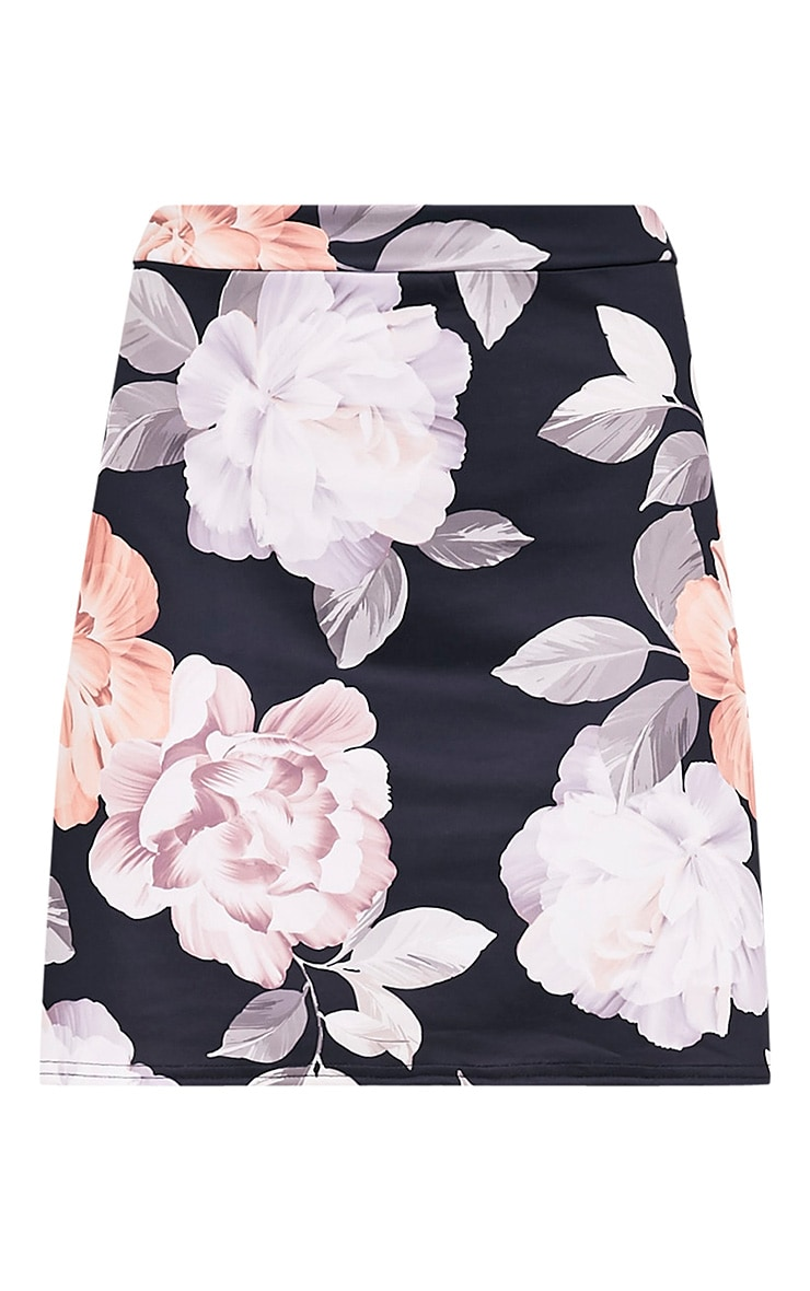 Deltie Nude Floral Print A-Line Mini Skirt 3
