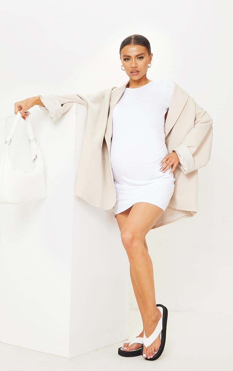 PLT Maternité - Robe tee-shirt basique blanche à manches courtes 1