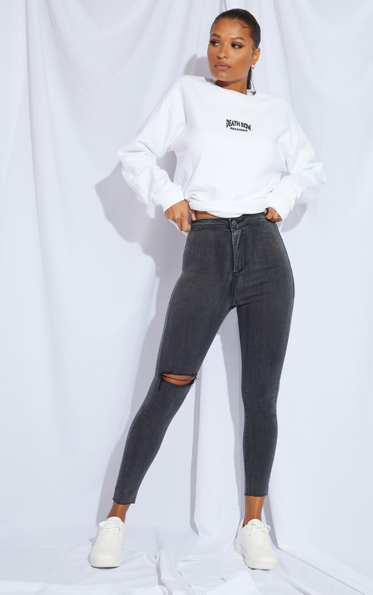 PRETTYLITTLETHING Washed Black Raw Hem Knee Rip Disco Skinny Jeans 1