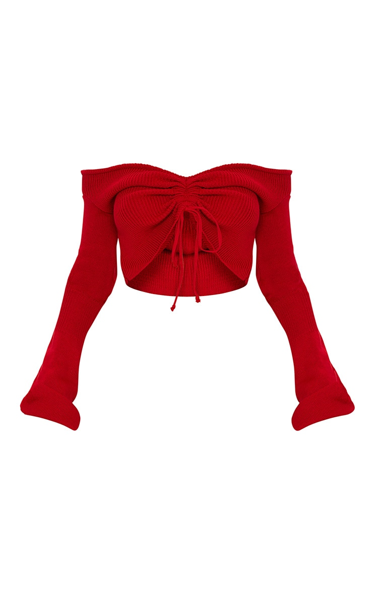 Red Ruched Knit Extreme Sleeve Crop Jumper 4