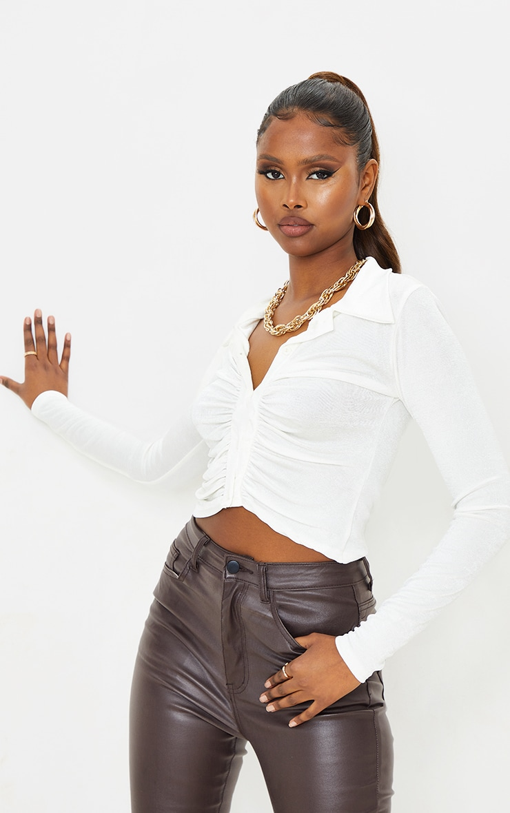 White Acetate Slinky Ruched Front Shirt 1