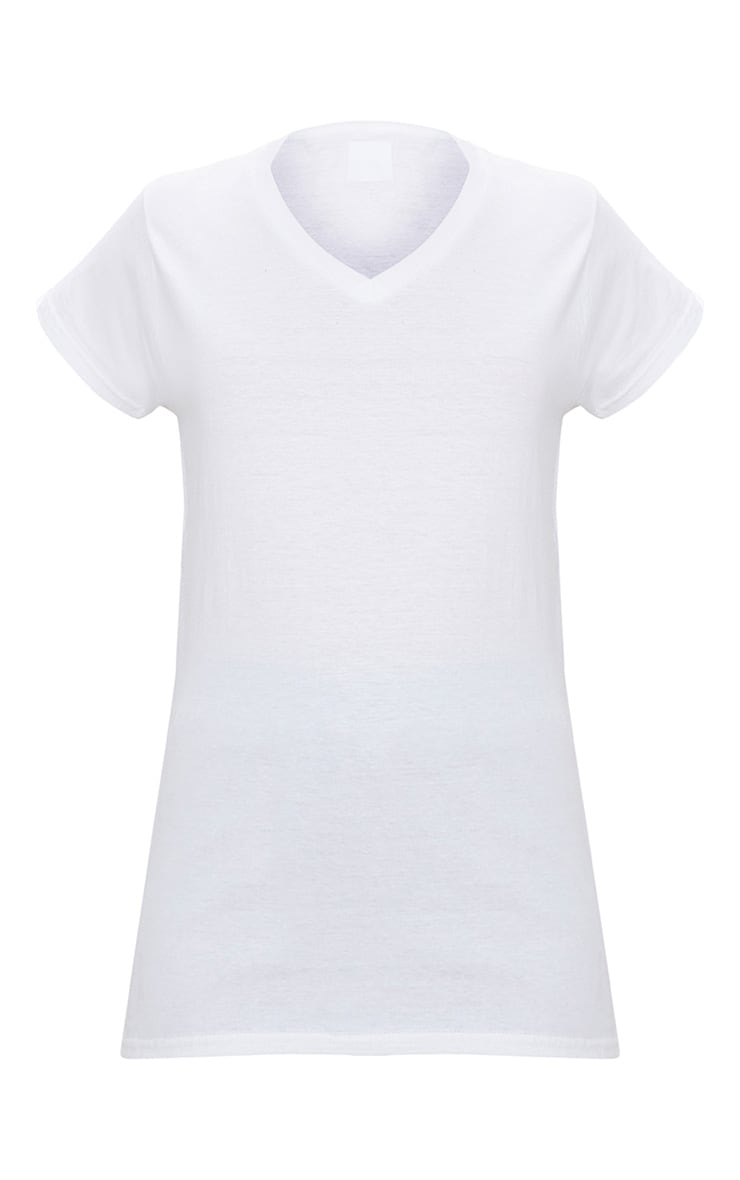 Basic White Fitted V Neck Jersey T Shirt 3