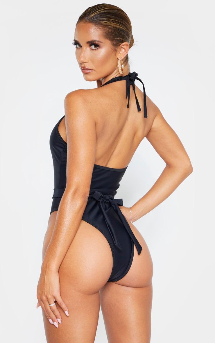 Black Diamante Twist Trim Belted Swimsuit 2