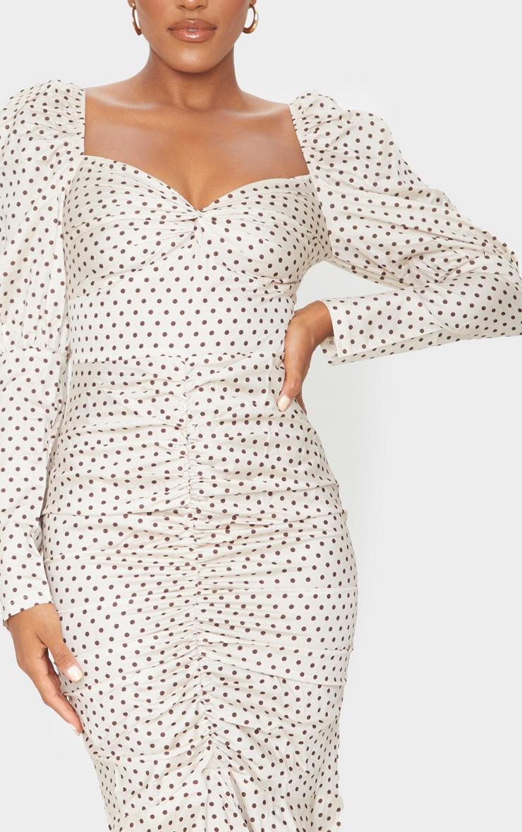 Nude Polka Dot Puff Sleeve Ruched Detail Frill Hem Midi Dress 4