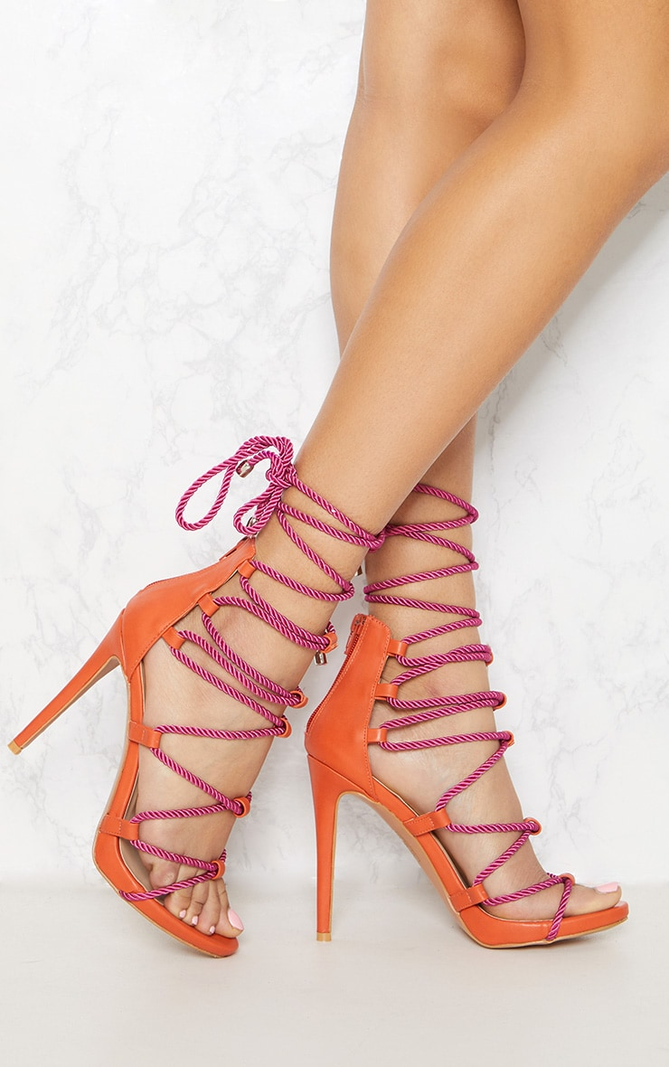 Blush Ruffle Detail Lace Up Heels Pretty Little Thing