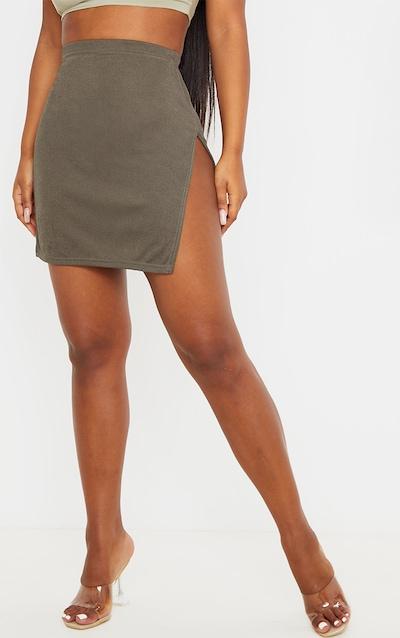 Khaki Extreme Split Mini Skirt