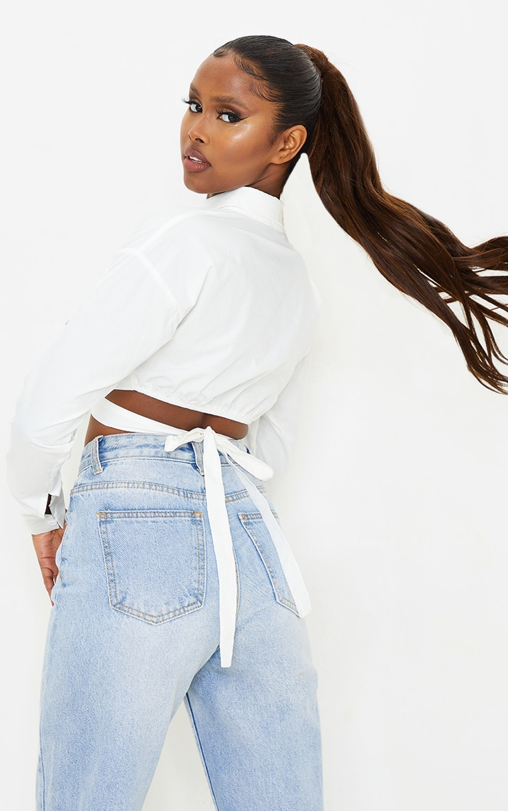 White Woven O Ring Cropped Shirt 2
