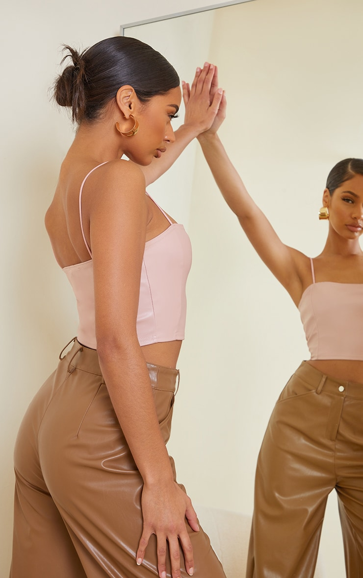 Light Pink Faux Leather Crop Top 2
