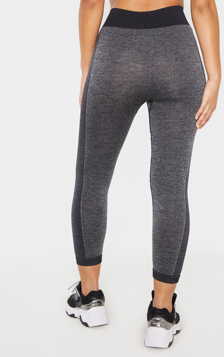 Dark Grey Seamless Contrast Panel Cropped Legging 4