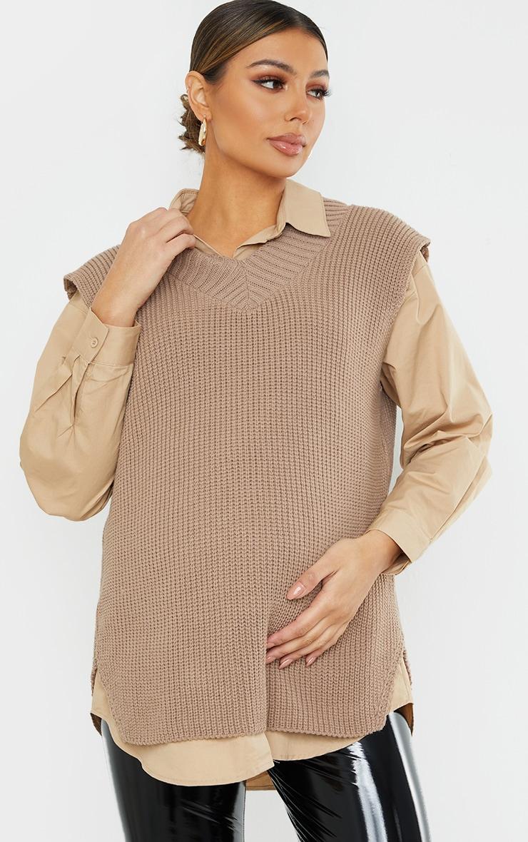 Maternity Taupe V Neck Knitted Side Split Vest 1