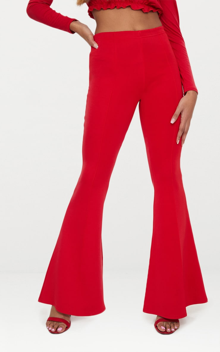 Petite Red High Waist Extreme Flare Trousers 2