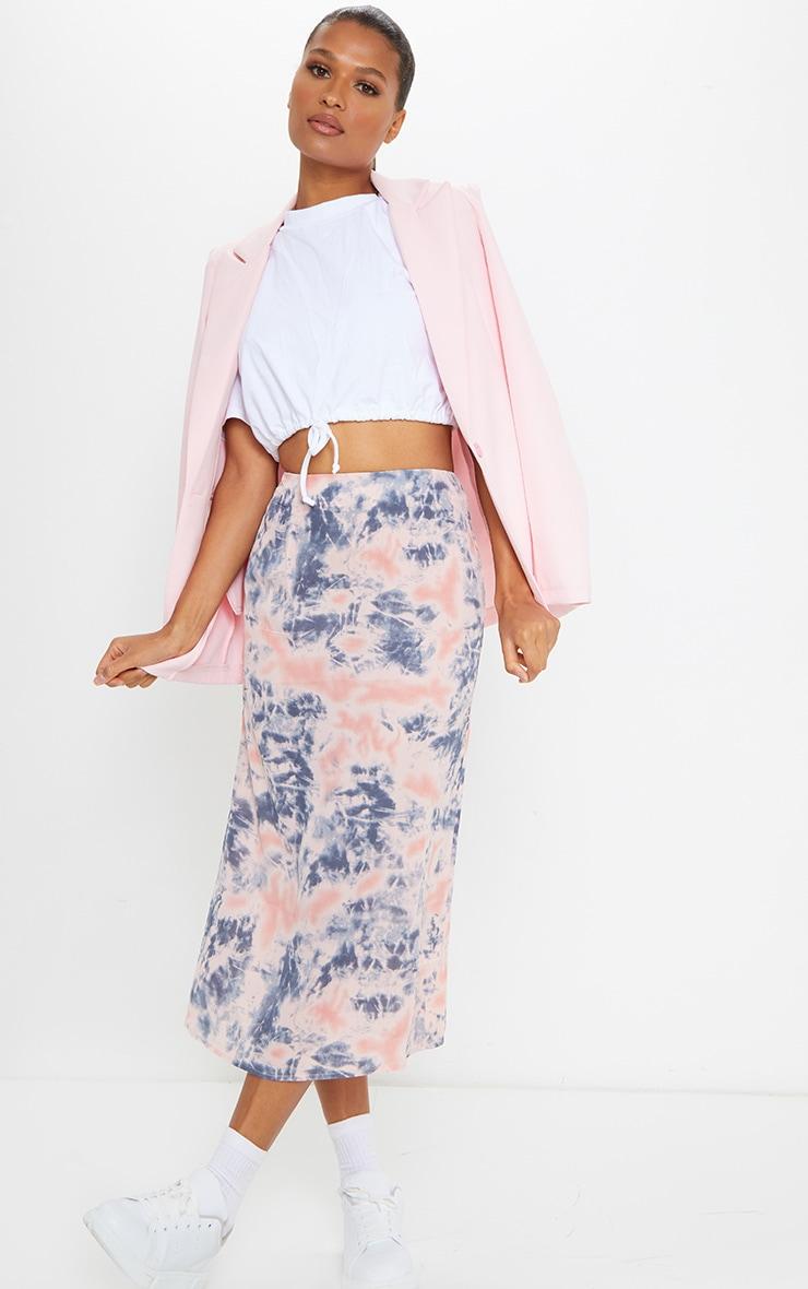 Pink Tie Dye Woven Midi Skirt 5