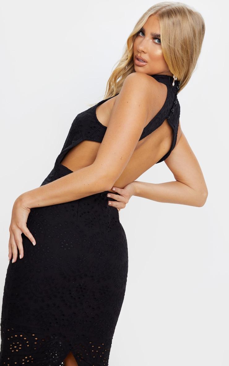 Black Crochet Lace Backless Midi Dress 5