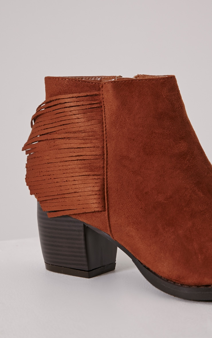 Cairo Tan Faux Suede Tassel Ankle Boots 6