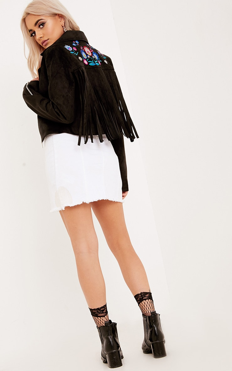 Shilla Black Faux Suede Embroidered Detail Biker 5
