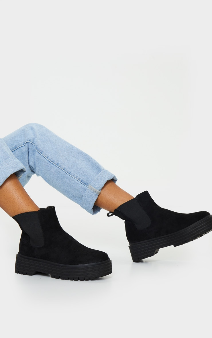 Black Double Sole Chunky Chelsea Ankle Boot 2