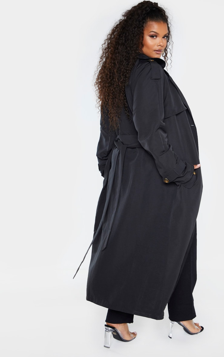 Plus Black Oversized Button Down Trench Coat 2