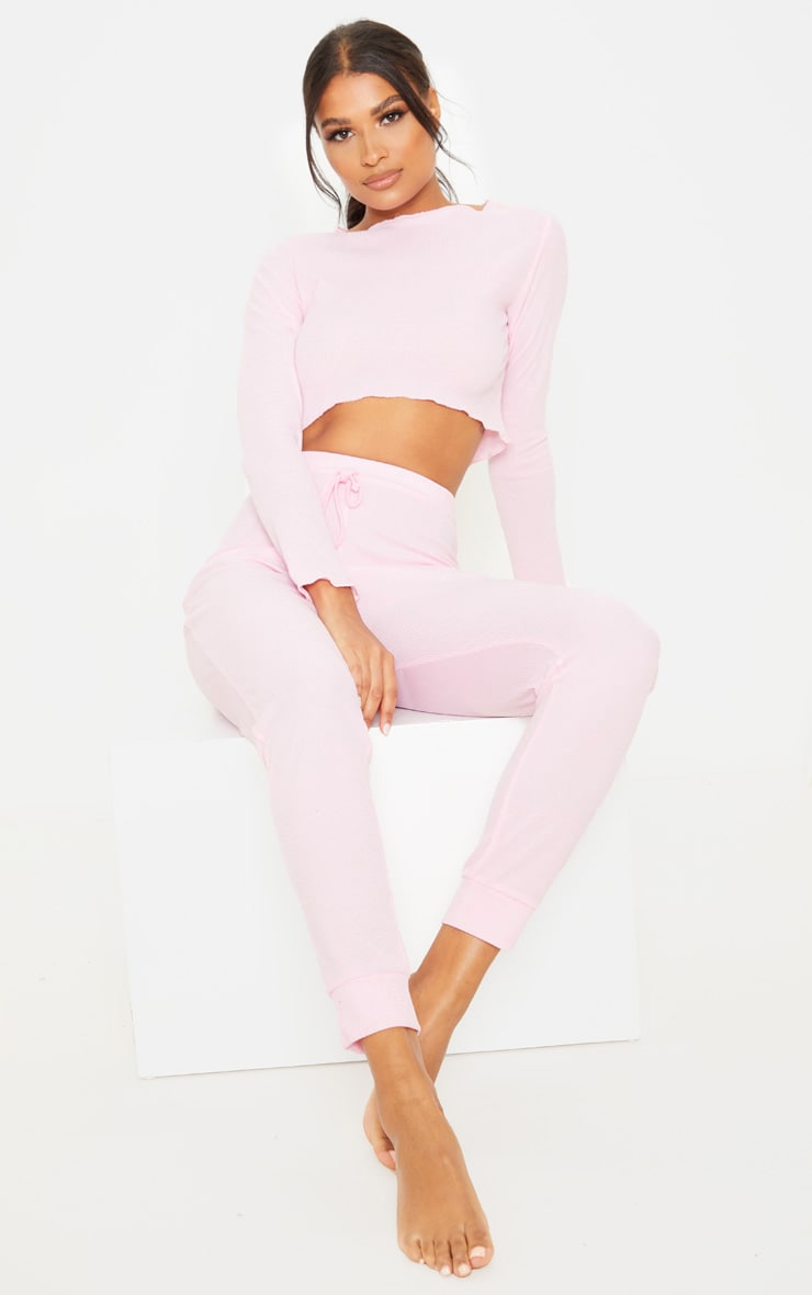 Baby Pink Ribbed Frill Edge Long Sleeve Legging PJ Set 1