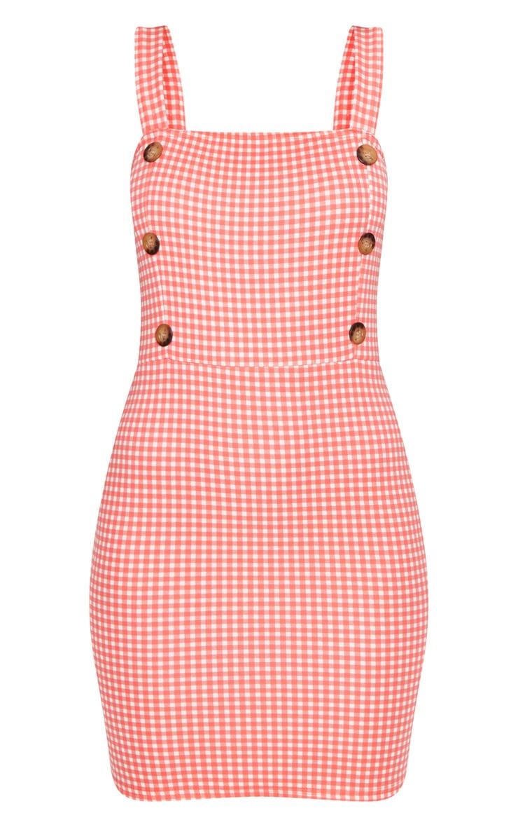 Red Gingham Print Bodycon Dress 3