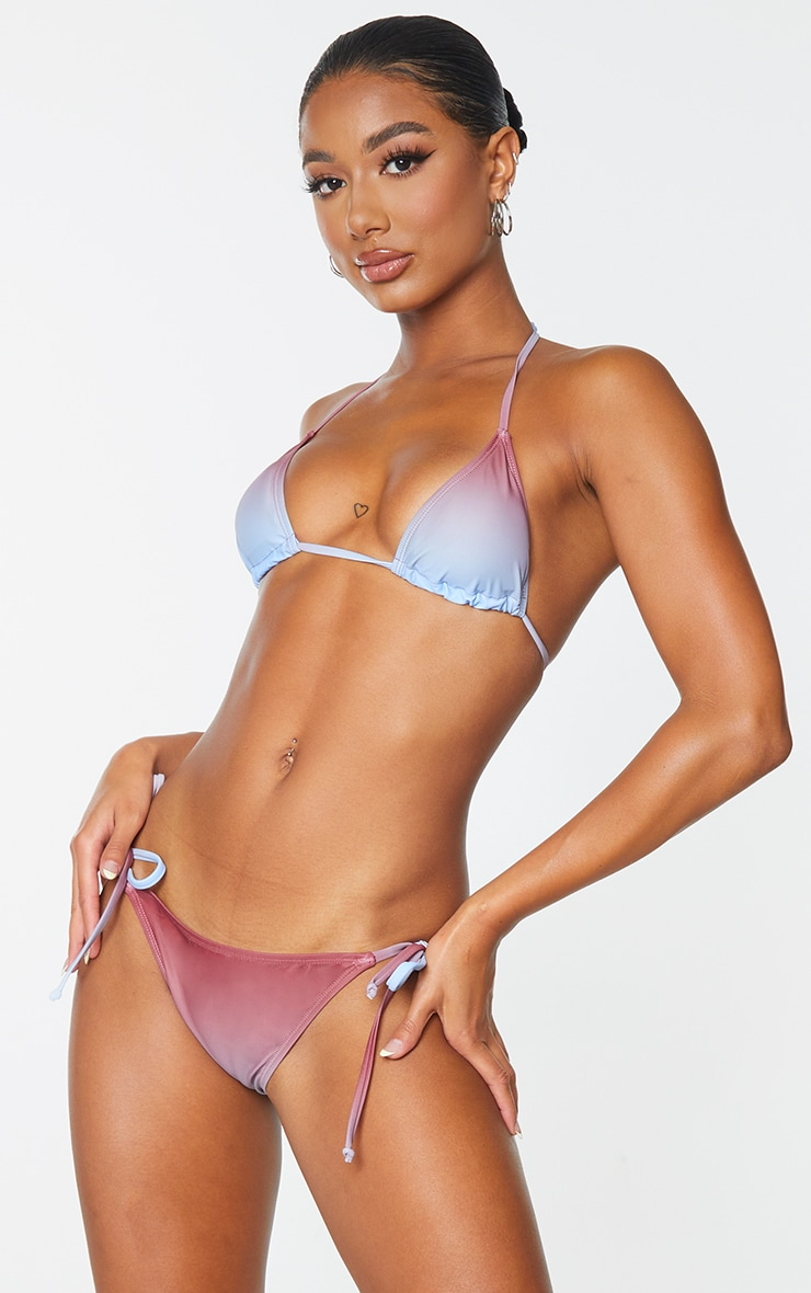 Brown Ombre Print Padded Bikini Top 3