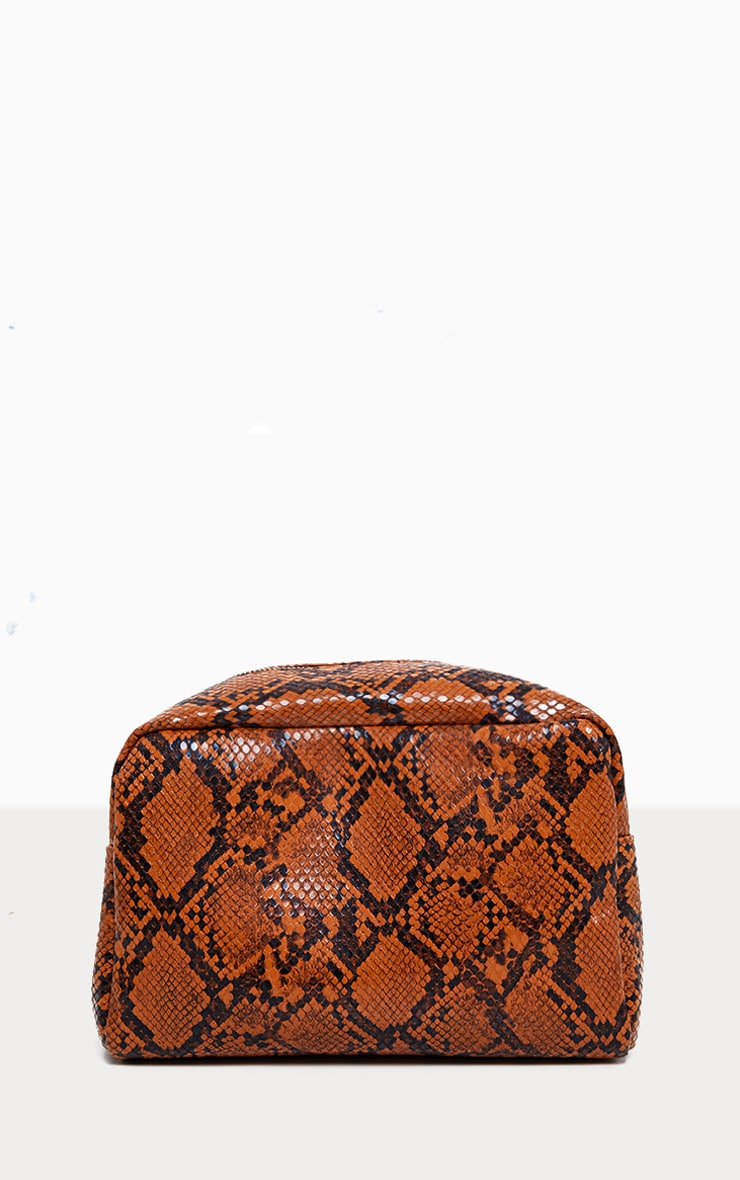 PRETTYLITTLETHING Large Snakeskin Make Up Bag 2