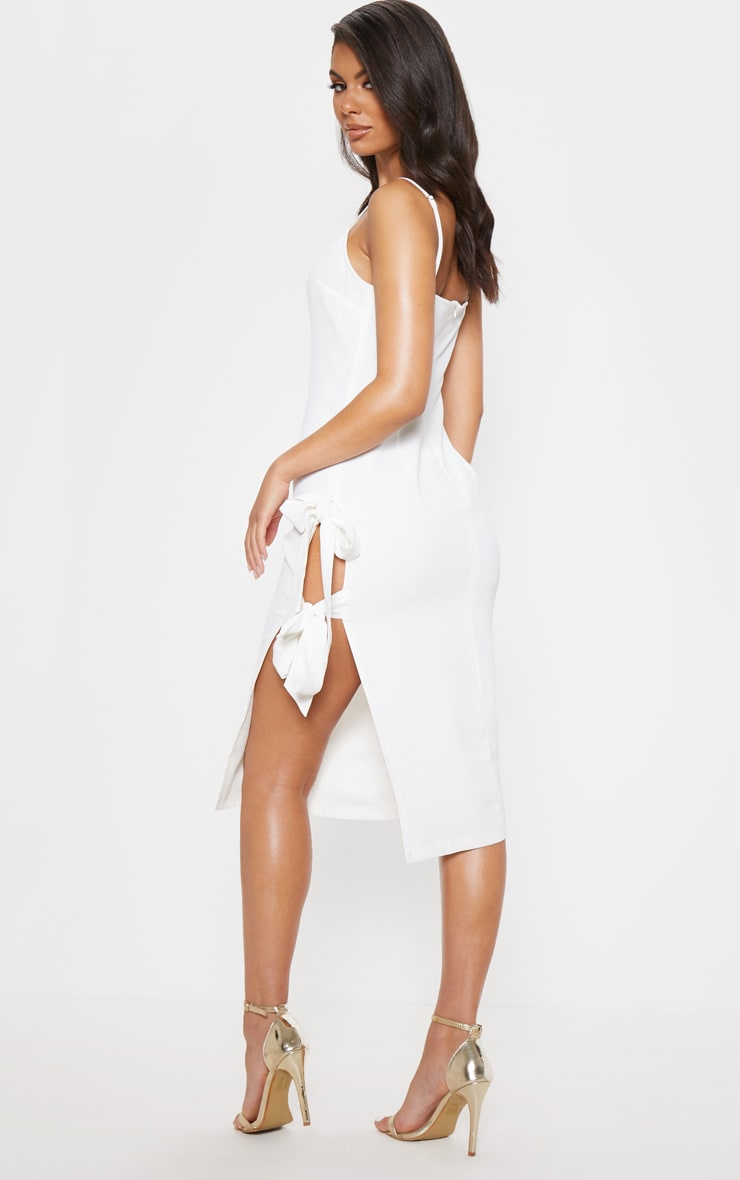White Split Side Midi Dress 2