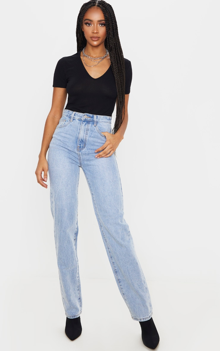 Light Blue Wash High Waist Straight Leg Jeans 1