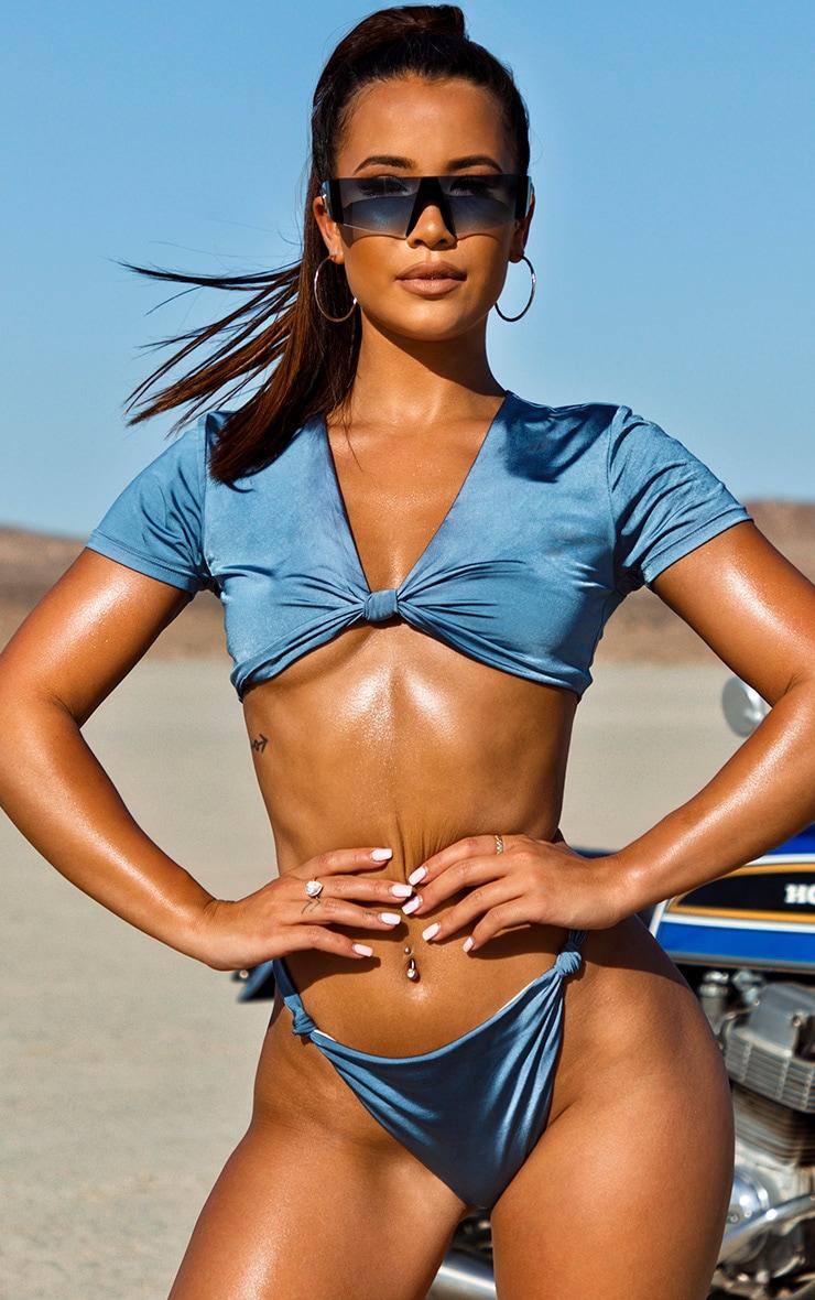Slate Grey Knot Front T shirt Bikini Top 5