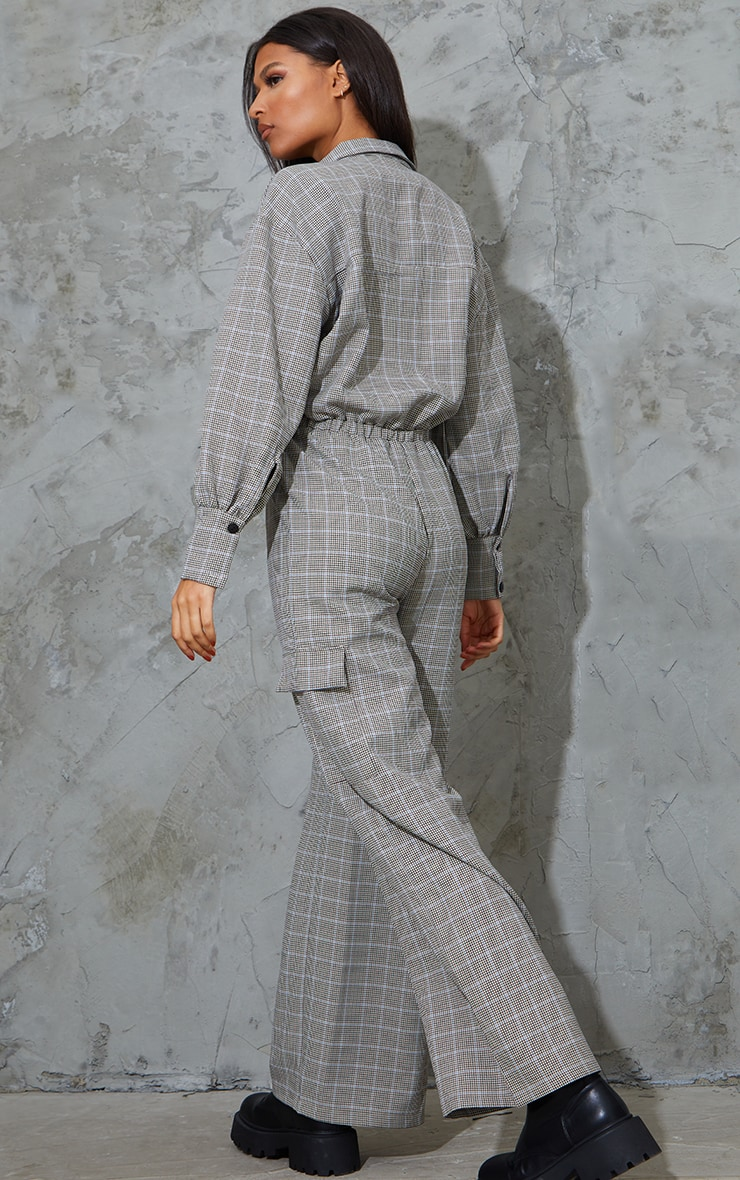 Beige Check Pocket Wide Leg Shirt Jumpsuit 2