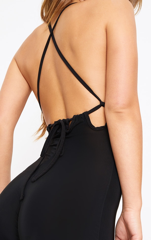 Petite Black Tie Back Strappy Jumpsuit 5