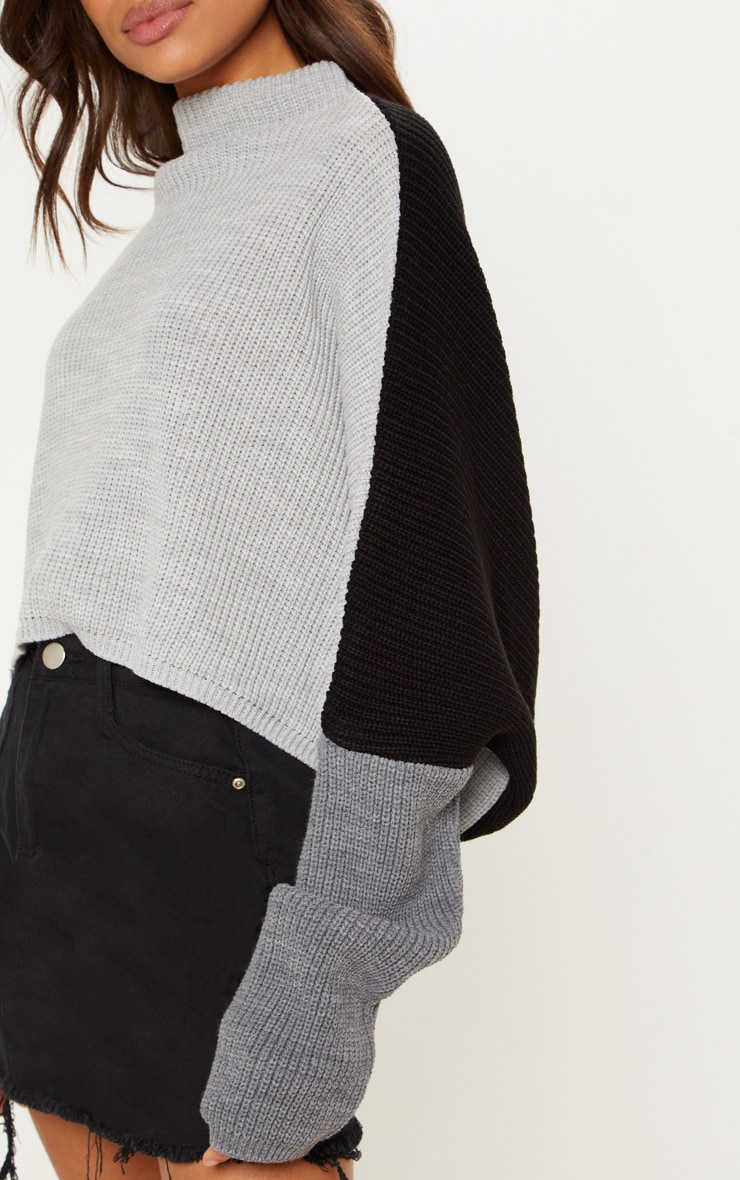 Black Oversized Colour Knitted Block Jumper  4