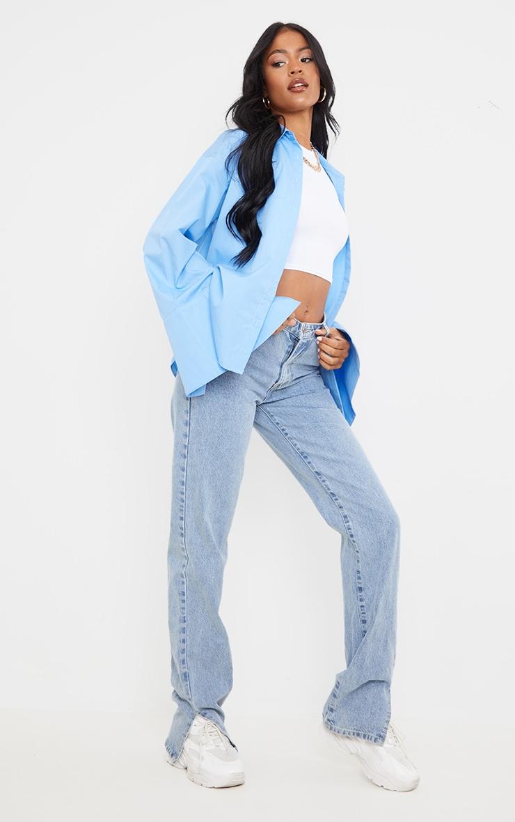 Tall Blue Cotton Oversized Shirt 1